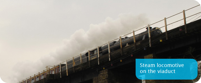 Steam locomotive on the viaduct